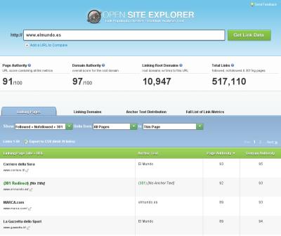 Información sobre enlaces entrantes, en www.opensiteexplorer.org