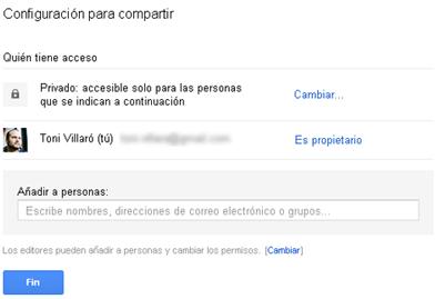 Compartir archivos Google Drive