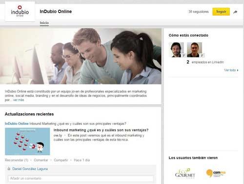 gestión de redes como Linkedin