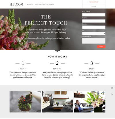 landing page hbloom